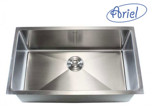 30 Inch Stainless Steel Undermount Single Bowl Kitchen Sink 15mm Radius Design - 16 Gauge