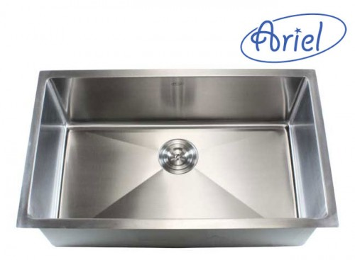 32 Inch Stainless Steel Undermount Single Bowl Kitchen Sink 15mm Radius Design - 16 Gauge