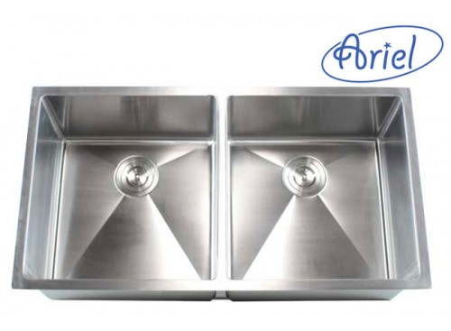 37 Inch Stainless Steel Undermount 50/50 Double Bowl Kitchen Sink 15mm Radius Design - 16 Gauge