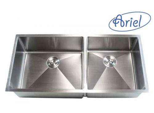 42 Inch Stainless Steel Undermount Double Bowl Kitchen Sink 15mm Radius Design - 16 Gauge