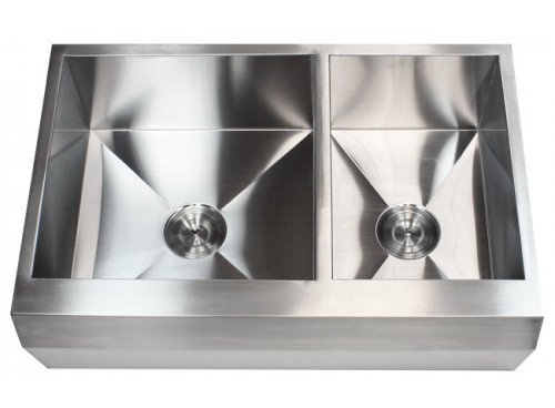 33 Inch Stainless Steel 60/40 Double Bowl Zero Radius Well Angled Design Farm Apron Kitchen Sink 16 Gauge