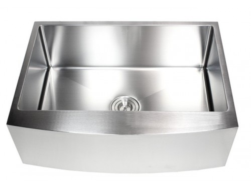 30 Inch Stainless Steel Curved Front Farm Apron Single Bowl Kitchen Sink 15mm Radius Design