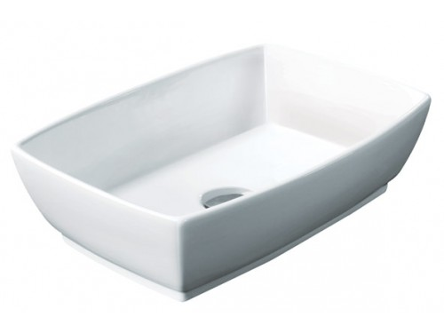 Rectangular White / Black Porcelain Ceramic Countertop Bathroom Vessel Sink - 18-3/4 x 13-1/2 x 5-1/2 Inch