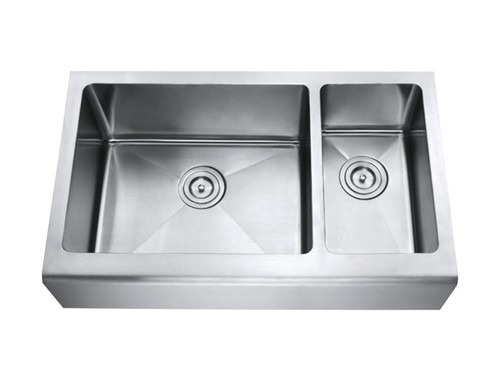 33 Inch Stainless Steel Smooth Flat Front Farm Apron Kitchen Sink 70/30 Double Bowl 15mm Radius Design