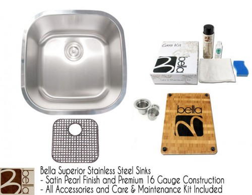 Bella 20 Inch Premium 16 Gauge Stainless Steel Undermount Single Bowl Kitchen Sink with FREE ACCESSORIES