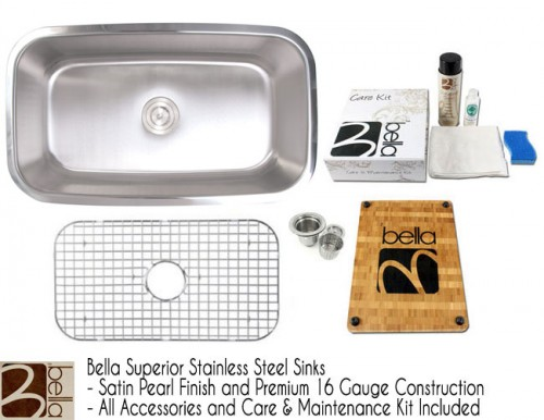 Bella 32 Inch Premium 16 Gauge Stainless Steel Undermount Single Bowl Kitchen Sink with FREE ACCESSORIES