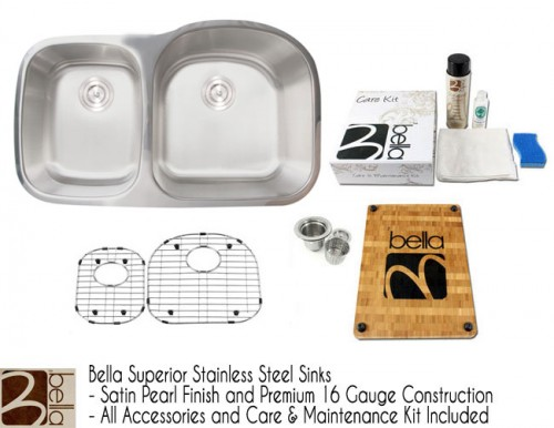 Bella 34 Inch Premium 16 Gauge Stainless Steel Undermount 40/60 D-Bowl Offset Kitchen Sink with FREE ACCESSORIES