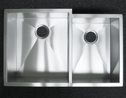 33 Inch Stainless Steel Undermount 60/40 Offset Double Bowl Kitchen Sink Zero Radius Design