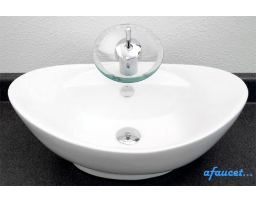 Porcelain Ceramic Single Hole Countertop Bathroom Vessel Sink - 23 x 15-1/2 x 8-1/2 Inch