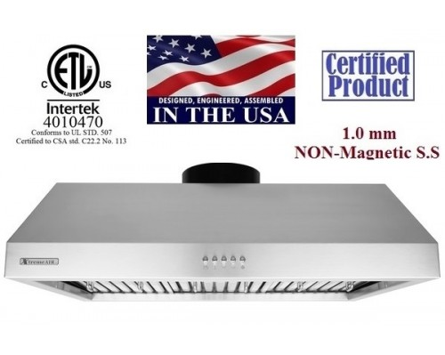 XtremeAIR 36 Inch Under Cabinet Stainless Steel Range Hood UL11-U36
