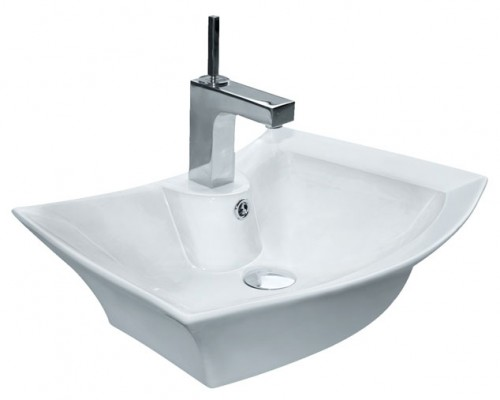 Porcelain Ceramic Single Hole Countertop Bathroom Vessel Sink - 23-3/4 x 17-3/4 x 6 Inch