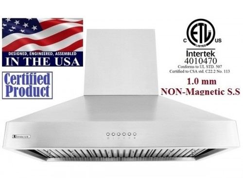XtremeAIR 36 Inch Wall Mount Stainless Steel Range Hood DL08-W36