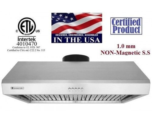 XtremeAIR 36 Inch Under Cabinet Stainless Steel Range Hood UL13-U36