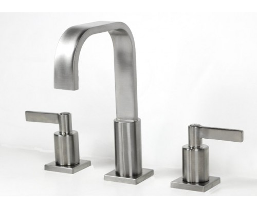 Widespread Lead Free 3 Hole Bathroom Faucet Brushed Nickel Finish
