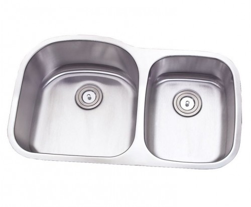 32 Inch Stainless Steel Undermount Double 60/40 D-Bowl Offset Kitchen Sink - 16 Gauge