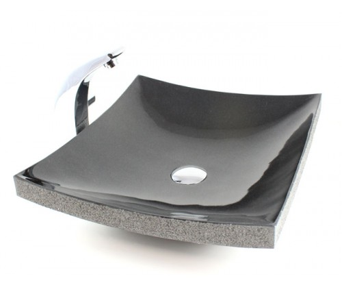 Curved Rectangular Granite Vessel Sink with Chiseled Exterior Absolute Black