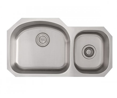 32 Inch Stainless Steel Undermount 60/40 Double D-Bowl Offset Kitchen Sink - 16 Gauge
