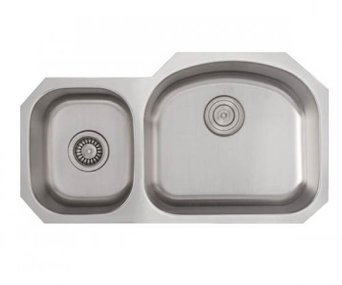 32 Inch Stainless Steel Undermount 40/60 Double D-Bowl Offset Kitchen Sink - 16 Gauge