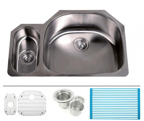 32 Inch Stainless Steel Undermount 20/80 Double D-Bowl Offset Kitchen Sink - 16 Gauge FREE ACCESSORIES