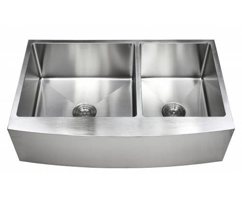 36 Inch Stainless Steel Curved Front Farm Apron 60/40 Double Bowl Kitchen Sink 15mm Radius Design - 16 Gauge