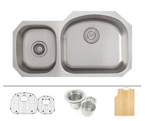 32 Inch Stainless Steel Undermount 40/60 Double D-Bowl Offset Kitchen Sink - 16 Gauge FREE ACCESSORIES