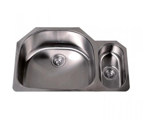 32 Inch Stainless Steel Undermount Double D-Bowl Offset Kitchen Sink - 16 Gauge