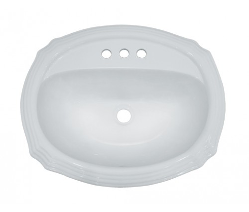 Porcelain Ceramic Vanity Drop In Bathroom Vessel Sink - 22-15/16 x 19-3/8 x 6-3/4 Inch