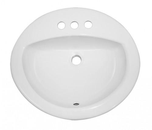 Porcelain Ceramic Vanity Drop In Bathroom Vessel Sink - 20-1/2 x 17-3/4 x 7-1/2 Inch