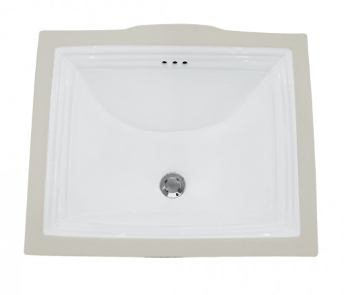 Rectangular White Porcelain Ceramic Vanity Undermount Bathroom Vessel Sink - 20-3/4 x 17-1/4 x 5-1/4