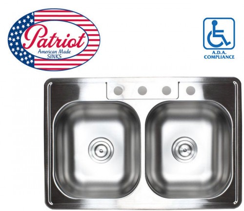 33 Inch Patriot Premium 18 Gauge Stainless Steel Top Mount Drop In 50/50 Double Bowl Kitchen Sink
