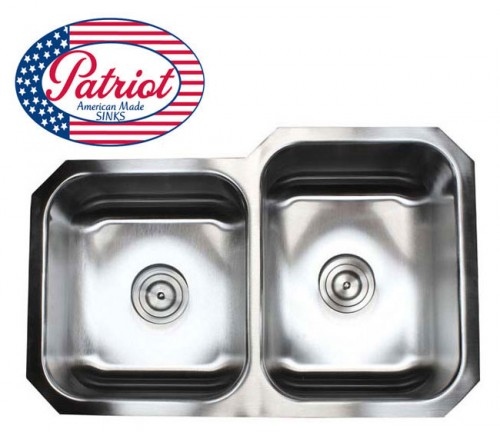 31 Inch Patriot Premium 18 Gauge Stainless Steel Undermount 40/60 Offset Double Kitchen Sink