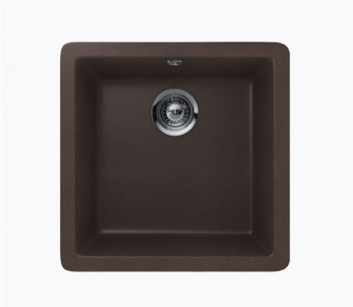 Mocha Quartz Composite Single Bowl Undermount / Drop In Kitchen Sink - 17-11/16 x 16-15/16 x 8 Inch
