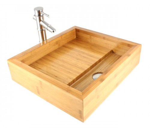 Pure - Bamboo Countertop Bathroom Lavatory Vessel Sink  - 19 x 17 x 4-1/2 Inch