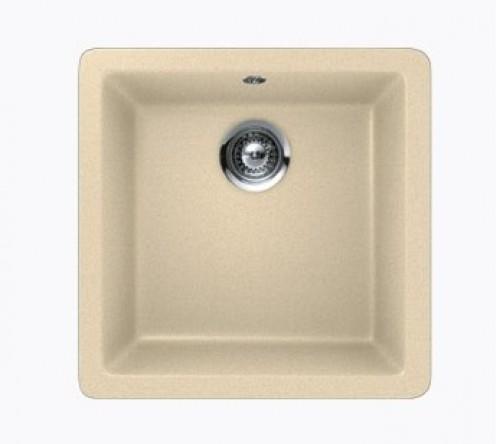 Beige Quartz Composite Single Bowl Undermount / Drop In Kitchen Sink - 17-11/16 x 16-15/16 x 8 Inch