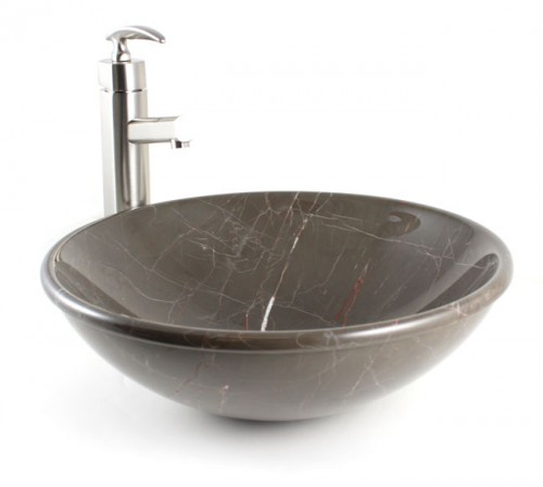 Emperador Marble Stone Undermount / Drop In / Countertop Bathroom Lavatory Vessel Sink - 16-1/2 x 5 Inch