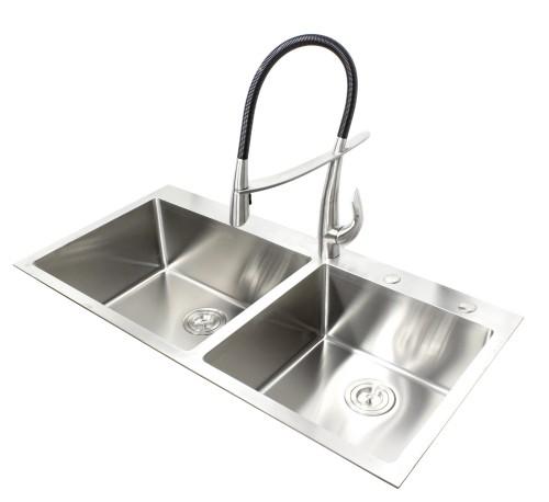 43 Inch Topmount / Drop-In Stainless Steel Double Bowl Kitchen Sink 15mm Radius Design