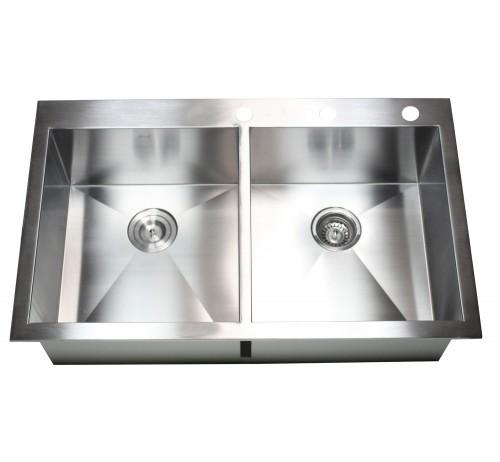 36 Inch Top-Mount / Drop-In Stainless Steel Double Bowl Kitchen Sink Zero Radius Design