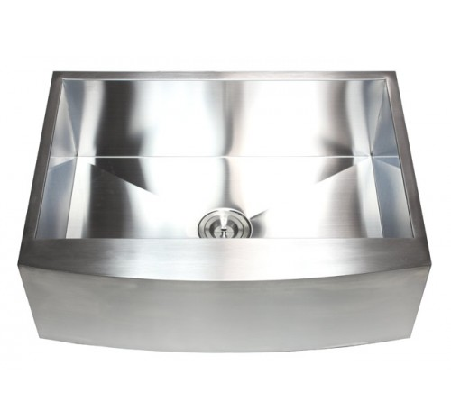 30 Inch Stainless Steel Single Bowl Curved Front Farm Apron Kitchen Sink Zero Radius Design