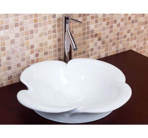 Flower Porcelain Ceramic Countertop Bathroom Vessel Sink - 20-1/2 x 8-1/4 Inch