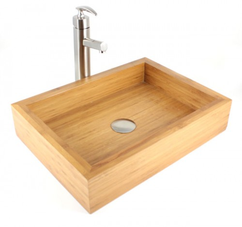 Irenic - Bamboo Countertop Bathroom Lavatory Vessel Sink  - 18-7/8 x 14 x 4-1/4 Inch