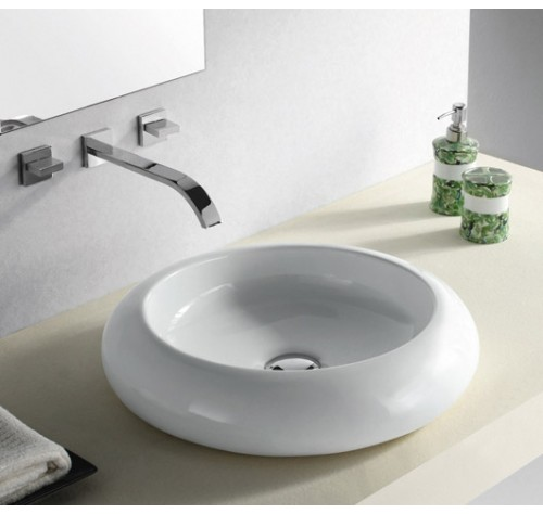 Rounded Edge White / Black Porcelain Ceramic Countertop Bathroom Vessel Sink - 19-1/2 x 4-3/4 Inch
