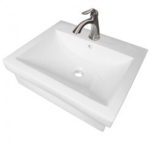 21-1/2 Inch Rectangular Porcelain Ceramic Single Hole Countertop Bathroom Vessel Sink