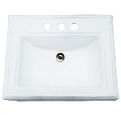 Porcelain Ceramic Vanity Drop In Bathroom Vessel Sink - 23 x 18-3/16 x 6-7/8 Inch