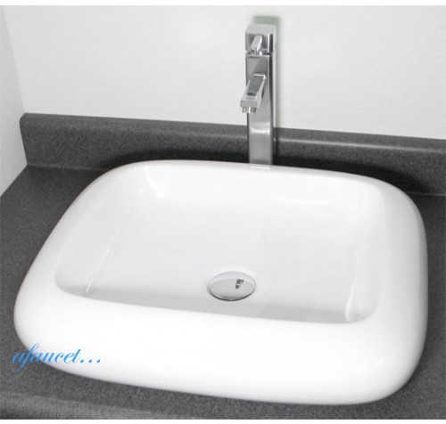 Rounded Edge Rectangular Porcelain Ceramic Countertop Bathroom Vessel Sink - 22 x 19 Inch