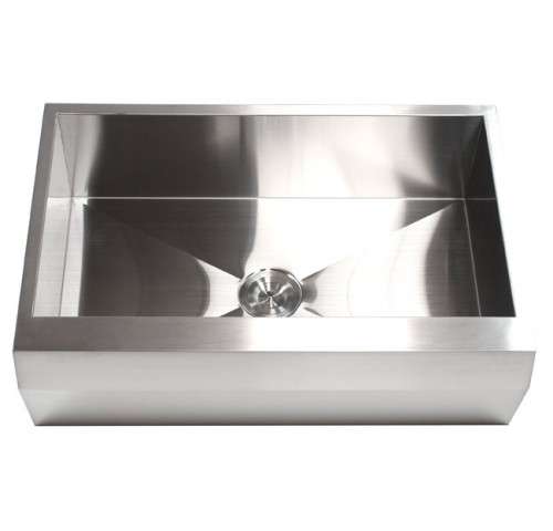 33 Inch Stainless Steel Single Bowl Zero Radius Well Angled Design Farm Apron Kitchen Sink 16 Gauge