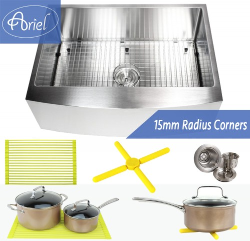 Ariel 30 Inch 16 Gauge Curved Front Apron Single Bowl Stainless Steel Kitchen Sink Premium Package 15mm Radius Design
