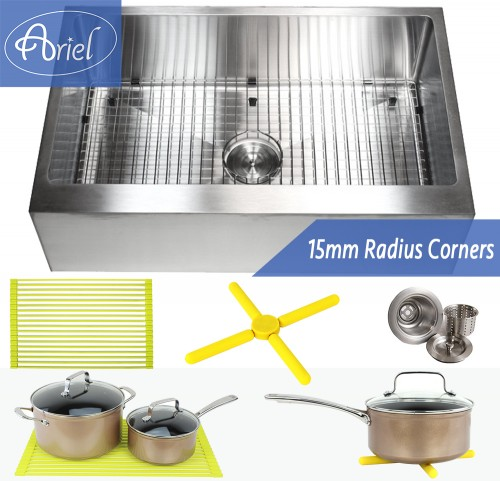 30 Inch Stainless Steel Flat Front Farm Apron Single Bowl Stainless Steel Kitchen Sink Premium Package 15mm Radius Design