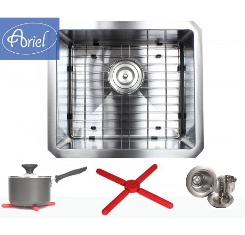 Ariel 17 Inch 16 Gauge Undermount Single Bowl Stainless Steel Sink Premium Package 15mm Radius Design
