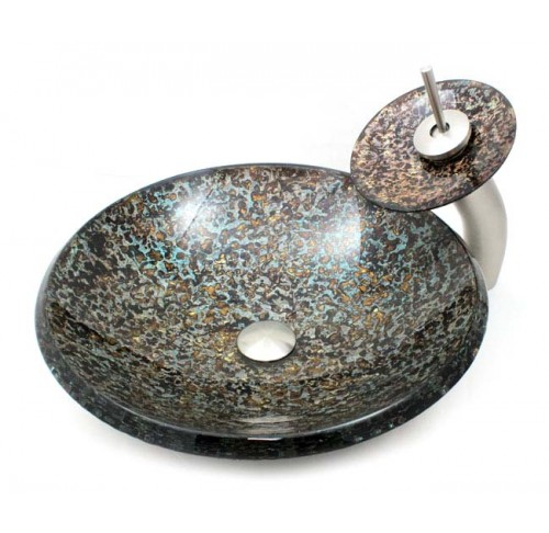 Bathroom Glass Vessel Sink and Waterfall Faucet Combo - PYRITE