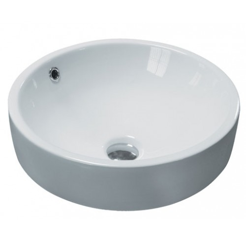 Round Porcelain Ceramic Countertop Bathroom Vessel Sink - 17-1/2 x 7-3/4 Inch